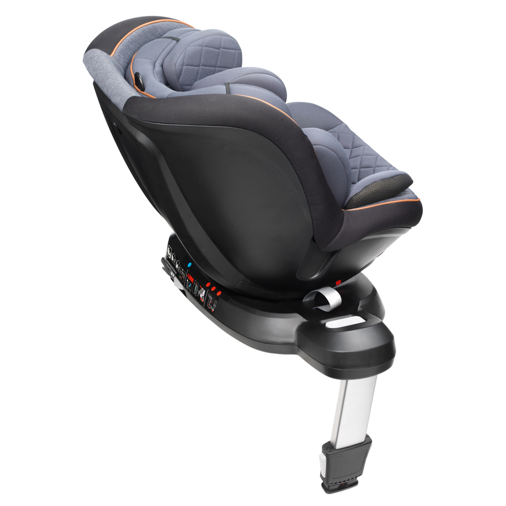 mee-go swirl 360 car seat tan trim side reclined option