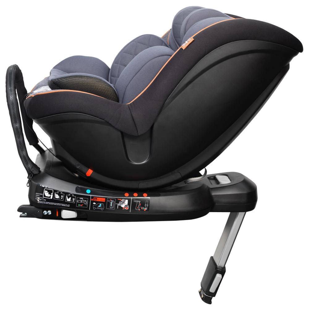 mee-go swirl 360 car seat tan trim side reclined